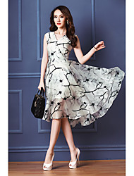 2016 summer new luxury sexy silk sleeveless print dress long section of the big skirt