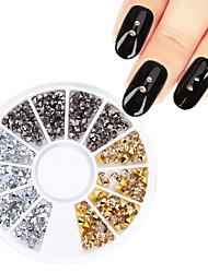 1 Box Sharp Bottom Rhinestone Nail Studs Gold Silver Grey Mixed 3D Nail Decoration