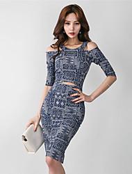 2017 version coréenne de ressort nouveau col rond cinquième manchon impression bustier mince était mince jupe robe