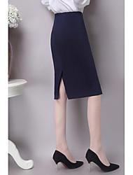 Для женщин Офис До колена Подол,С высокой талией Облегающий силуэт Однотонный Пружинный