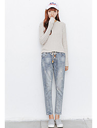 Spot Model real shot in spring 2017 significantly thin jeans pants elastic waist slacks