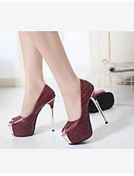 Белый Черный Вино-Для женщин-Повседневный-Лакированная кожа-На шпильке На платформе-Удобная обувь-Обувь на каблуках
