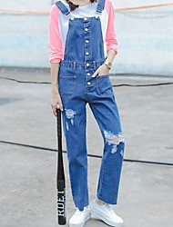 Sign Korean version of the single-breasted female loose denim overalls was thin straight jeans