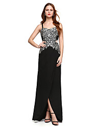 TS Couture Formal Evening Dress - Elegant Sheath / Column Spaghetti Straps Floor-length Chiffon Lace with Lace Pleats