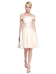 Knee-length Satin Bridesmaid Dress - A-line Off-the-shoulder with Bow(s)