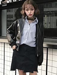 Feminino Jaquetas de Couro Casual Vintage Outono,Sólido Curto Algodão Colarinho Chinês Manga Longa