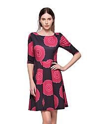 Trapèze Robe Femme Sortie Décontracté / Quotidien Chic de Rue,Fleur Col Arrondi Au dessus du genou ½ Manches Coton Polyester Printemps Eté