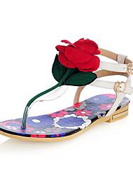 Women's Sandals Spring Summer Fall Slingback Cowhide Office & Career Party & Evening Dress Flat Heel Flower