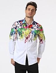 Masculino Camisa Social Casual Praia Férias Simples Punk & GóticasArco-Íris Algodão Colarinho de Camisa Manga Longa