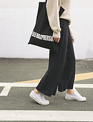 Hitz Korean version of the cost-effective soft elastic waist wide leg straight solid color loose knit pants women