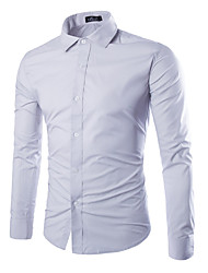 Men's Casual/Daily Work Club Simple Shirt,Solid Shirt Collar Long Sleeve Cotton