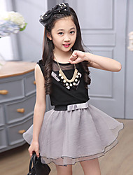 Girls' Beach Casual/Daily Holiday Color Block Sets,Silk Summer Sleeveless Clothing Set