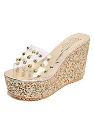 Women's Slippers & Flip-Flops Summer Comfort PU Office & Career Casual Wedge Heel Rhinestone Gold Silver