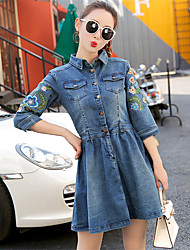 Women's Embroidery Really making spring flower embroidery stick pocket sleeve A-line dress denim skirt