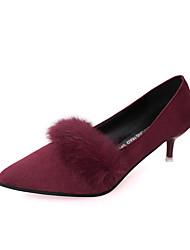Damen-High Heels-Kleid Lässig-PU-Kitten Heel-Absatz-Komfort-Schwarz Grau Burgund