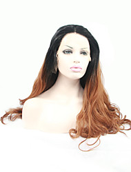 Sylvia Synthetic Lace front Wig Black To Brown Ombre Natual Wigs Heat Resistant Long Wavy Synthetic Wigs
