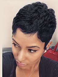 Short Pixie Hair Wig Black Natural Wavy Human Hair Capless Cap Wigs For Women
