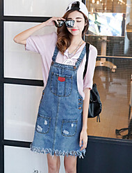Really making 2016 Korean version Washed Denim strap dress fringed dress A word skirt spring and summer women's