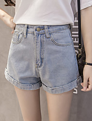 Sign new Korean version of the four-color AA retro high waist denim shorts shorts female curling loose jeans