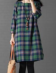 Feminino Solto Vestido,Casual Simples Listrado Decote Redondo Altura dos Joelhos Manga ¾ Algodão Primavera Cintura Baixa Micro-Elástica