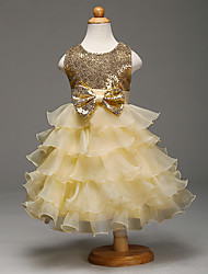 Ball Gown Knee-length Flower Girl Dress - Organza Satin Sequined Sleeveless Jewel with Bow(s) Sequins Cascading Ruffles