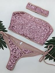 Women's Bandeau Bandeau Bikini,Solid Polyester