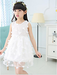 Girl's Going out Holiday Solid Floral Dress,Cotton Sleeveless
