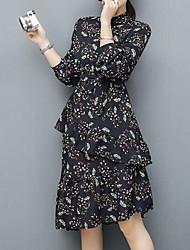 Sign Dongdaemun purchasing long section Dongkuan 2017 new women's dress floral print chiffon dress