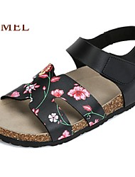 Camel Women's Outdoor Sandals Summer Gladiator Casual Flat Heel Magic Tape Beach Shoes Color White/Black