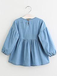 casual / diária vestido de verão sólida primavera queda da menina meia manga