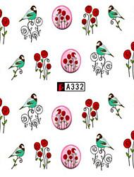 10pcs/set Fashion Romantic Design Nail Art Sticker Beautiful Rose Lovely Bird Nail Water Transfer Decals A332