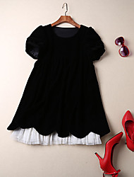 Women's Going out Simple A Line Dress,Solid Round Neck Mini Short Sleeve Rayon Summer Low Rise Micro-elastic Medium