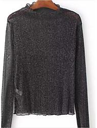 Damen Solide Einfach Ausgehen T-shirt,Ständer Sommer Langarm Baumwolle Lichtdurchlässig