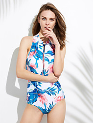 Womens Vintage Halter Floral One Piece Swimsuit