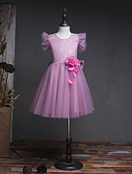 A-line Knee-length Flower Girl Dress - Lace Tulle Sleeveless Jewel with Flower(s) Ruffles