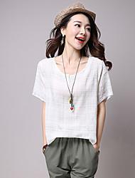 Damen Gestreift Einfach Lässig/Alltäglich T-shirt,Rundhalsausschnitt Kurzarm Baumwolle