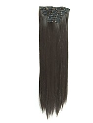 Synthetic Hair 58cm 130g with Clips 16 Clip in Hair Extensions False Hair Hairpieces Synthetic 23inch Long Straight Apply HairpieceD1014 2#