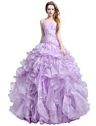 Ball Gown Sweetheart Floor Length Organza Formal Evening Dress with Beading Side Draping