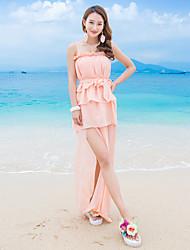 bretelles de tir réel modèle robe en mousseline de soie à volants fente gâteau de taille plage de la station jupe