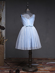 A-line Knee-length Flower Girl Dress - Satin Tulle Sleeveless V-neck with Beading Sash / Ribbon Pleats