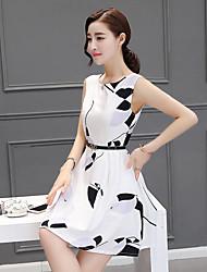 femmes&# 39; s été korean taille mince robe ronde robe sans manche robe de princesse blanche petite fraîche