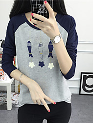 2017 spring new personality really making three small fish printing loose long-sleeved T-shirt blouses influx of students