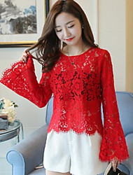 Sign the new two-piece horn sleeve lace jacket wild short paragraph Slim large size women video