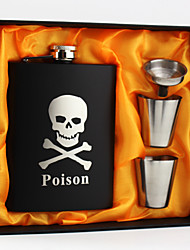 Personalized Stainless Steel 8-oz Black Flask Set  Hip Flasks Skull
