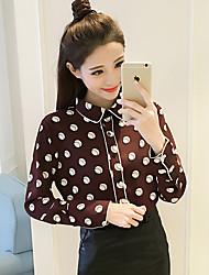 Spot really making 2017 spring new retro wave point chiffon shirt female long-sleeved shirt OL temperament