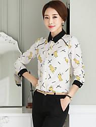 Women's Dailywear School Date Vacation Street Cute Summer Blouse,3D Print Shirt Collar Long Sleeves Chiffon Medium
