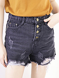 Women's Mid Rise Micro-elastic Jeans Shorts Pants,Vintage Simple Street chic Wide Leg Ripped Tassel Solid