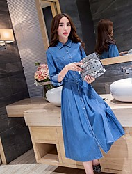 Women's Going out Casual/Daily Simple A Line Dress,Solid Shirt Collar Midi Long Sleeve Polyester Nylon Spring Summer Mid Rise