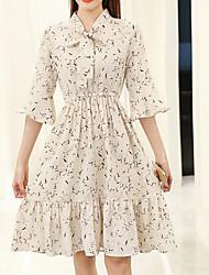 Значок весна новый маленький свежий цветочный шифон платье труба рукав платье талия корейский версия