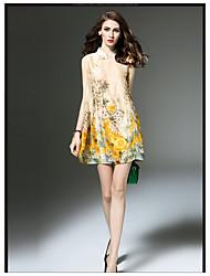 2017 summer new retro print cotton dress summer loose sleeveless dress A word goddess